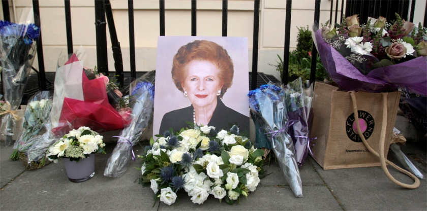 Well wishes laid flowers outside her home in Belgravia, London.